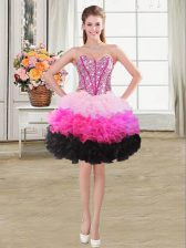 Multi-color Sleeveless Organza Lace Up Prom Dress for Prom and Party