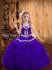 Trendy Eggplant Purple Organza Lace Up Straps Sleeveless Floor Length Kids Formal Wear Embroidery and Ruffles