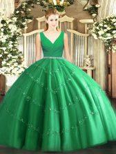 Glamorous Tulle V-neck Sleeveless Zipper Beading 15th Birthday Dress in Green