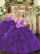 Luxurious Organza V-neck Sleeveless Lace Up Beading and Ruffles Little Girls Pageant Dress Wholesale in Purple
