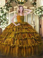 Brown Ball Gowns Organza Straps Sleeveless Ruffled Layers Floor Length Zipper Sweet 16 Quinceanera Dress