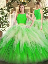 Ideal Green Sleeveless Lace and Ruffles Floor Length Quinceanera Dresses