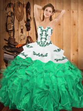 Designer Sleeveless Embroidery and Ruffles Lace Up Sweet 16 Quinceanera Dress