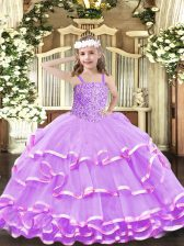 Floor Length Ball Gowns Sleeveless Lilac Little Girl Pageant Gowns Lace Up