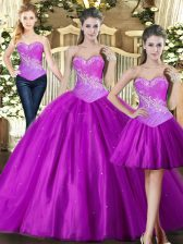 Ideal Fuchsia Ball Gowns Sweetheart Sleeveless Tulle Floor Length Lace Up Beading Sweet 16 Dresses