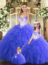 Chic Blue Ball Gowns Tulle Sweetheart Sleeveless Beading and Ruffles Floor Length Lace Up Sweet 16 Quinceanera Dress