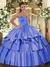 Edgy Blue Lace Up Quinceanera Gown Beading and Ruffled Layers Sleeveless Floor Length