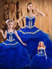 Sophisticated Royal Blue Sweetheart Neckline Ruffles Vestidos de Quinceanera Sleeveless Lace Up