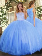 Baby Blue Clasp Handle 15 Quinceanera Dress Lace Sleeveless Floor Length