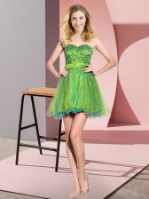 Vintage Multi-color Lace Up Sweetheart Beading and Sequins Dama Dress for Quinceanera Tulle Sleeveless