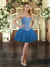 Best Blue Ball Gowns Tulle Sweetheart Sleeveless Beading Mini Length Lace Up