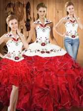 Stunning White And Red Sleeveless Floor Length Embroidery and Ruffles Lace Up Ball Gown Prom Dress