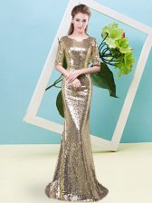Dramatic High Low Zipper Prom Party Dress Yellow for Prom and Party with Sequins