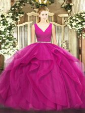 Modern V-neck Sleeveless Tulle Sweet 16 Dress Beading and Ruffles Zipper