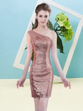 Shining Coral Red Column/Sheath One Shoulder Sleeveless Sequined Mini Length Zipper Sequins