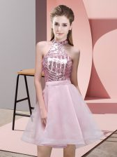 Fashion Pink Halter Top Backless Sequins Vestidos de Damas Sleeveless