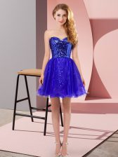 Charming Mini Length A-line Sleeveless Blue Dress for Prom Zipper