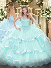 Apple Green Ball Gowns Beading and Ruffled Layers 15th Birthday Dress Zipper Organza Sleeveless Floor Length