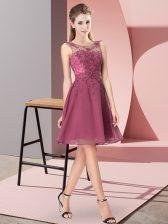 Custom Made Red Sleeveless Knee Length Appliques Zipper Court Dresses for Sweet 16