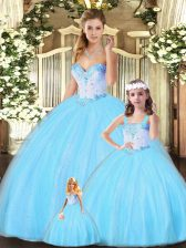 Edgy Floor Length Lace Up Quinceanera Dress Aqua Blue for Military Ball and Sweet 16 and Quinceanera with Beading