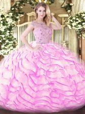 Classical Beading and Ruffled Layers Quinceanera Dress Lilac Zipper Sleeveless Sweep Train