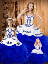 Tulle Strapless Sleeveless Lace Up Embroidery and Ruffles Sweet 16 Dresses in Royal Blue