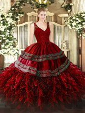 Floor Length Backless Quinceanera Gowns Wine Red for Military Ball and Sweet 16 and Quinceanera with Beading and Lace and Ruffles