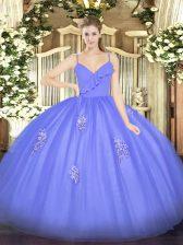 Fashion Sleeveless Zipper Floor Length Appliques Sweet 16 Dress