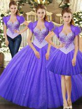 High Quality Straps Sleeveless 15th Birthday Dress Floor Length Beading Fuchsia Tulle