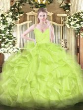 Eye-catching Yellow Green Zipper Sweet 16 Quinceanera Dress Ruffles Sleeveless Floor Length