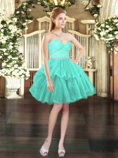 Popular Sweetheart Sleeveless Tulle Prom Gown Beading and Lace Lace Up