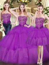 Chic Eggplant Purple Tulle Lace Up Ball Gown Prom Dress Sleeveless Floor Length Beading and Ruffled Layers