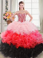 Fashion Multi-color Sleeveless Organza Lace Up Quince Ball Gowns for Sweet 16 and Quinceanera