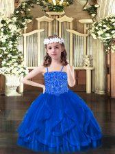 Custom Design Tulle Sleeveless Floor Length Custom Made Pageant Dress and Beading and Ruffles