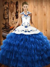 Fabulous Blue Organza Lace Up Halter Top Sleeveless Floor Length Quinceanera Dress Embroidery and Ruffled Layers