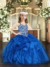 Blue Organza Lace Up Little Girl Pageant Gowns Sleeveless Floor Length Beading and Ruffles