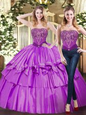 Amazing Eggplant Purple Strapless Lace Up Beading and Ruffled Layers Quinceanera Gowns Sleeveless