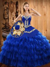 Blue Sleeveless Tulle Lace Up 15 Quinceanera Dress for Military Ball and Sweet 16 and Quinceanera