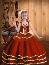 Rust Red Pageant Dresses Party and Sweet 16 and Quinceanera and Wedding Party with Embroidery and Ruffles Straps Sleeveless Lace Up