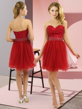 Mini Length Wine Red Homecoming Dress Tulle Sleeveless Beading