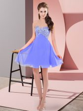Lovely Sleeveless Lace Up Mini Length Beading Evening Dress