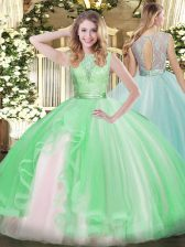 Deluxe Lace and Ruffles Sweet 16 Dresses Apple Green Backless Sleeveless Floor Length