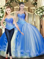 Beautiful Floor Length Ball Gowns Sleeveless Baby Blue Quinceanera Gown Lace Up