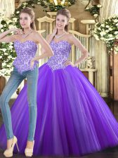 Sleeveless Floor Length Beading Lace Up Quinceanera Gowns with Eggplant Purple