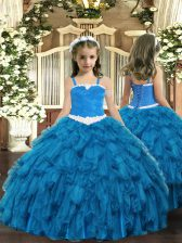 Exquisite Blue Lace Up Straps Appliques and Ruffles Little Girls Pageant Dress Wholesale Organza Sleeveless