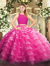 Modest Organza Scoop Sleeveless Zipper Lace and Ruffled Layers Ball Gown Prom Dress in Fuchsia