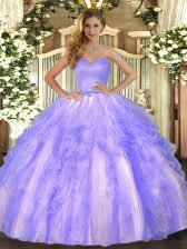 Romantic Sleeveless Lace Up Floor Length Ruffles Vestidos de Quinceanera