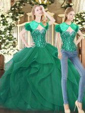 Fancy Dark Green Ball Gowns Tulle Sweetheart Sleeveless Beading and Ruffles Floor Length Lace Up Quince Ball Gowns