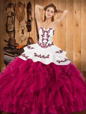 Sleeveless Satin and Organza Floor Length Lace Up Sweet 16 Quinceanera Dress in Fuchsia with Embroidery and Ruffles