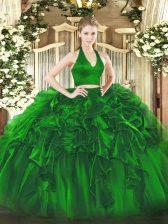 Halter Top Sleeveless 15th Birthday Dress Floor Length Ruffles Green Organza